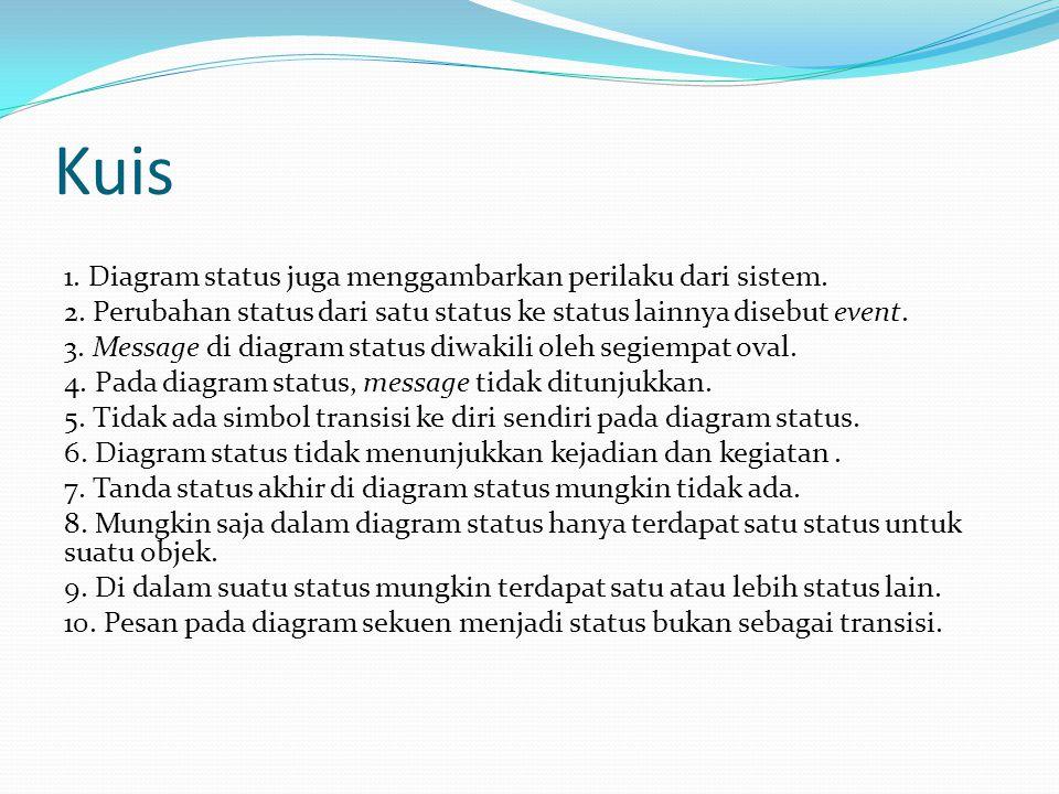 Kuis 1. Diagram status juga menggambarkan perilaku dari sistem. 2. Perubahan status dari satu status ke status lainnya disebut event. 3. Message di di