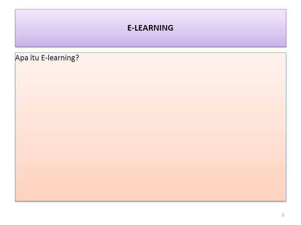 E-LEARNING Apa itu E-learning? 2