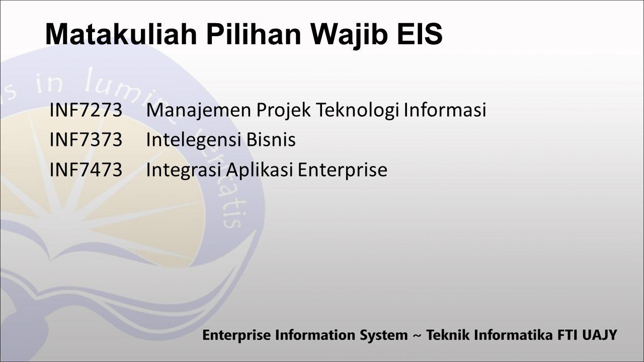 Matakuliah Pilihan Wajib EIS INF7273Manajemen Projek Teknologi Informasi INF7373Intelegensi Bisnis INF7473Integrasi Aplikasi Enterprise