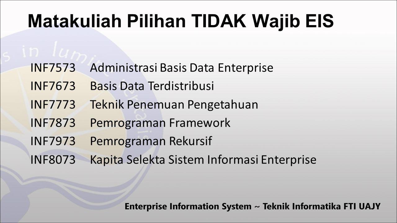 Matakuliah Pilihan TIDAK Wajib EIS INF7573Administrasi Basis Data Enterprise INF7673Basis Data Terdistribusi INF7773Teknik Penemuan Pengetahuan INF7873Pemrograman Framework INF7973Pemrograman Rekursif INF8073Kapita Selekta Sistem Informasi Enterprise