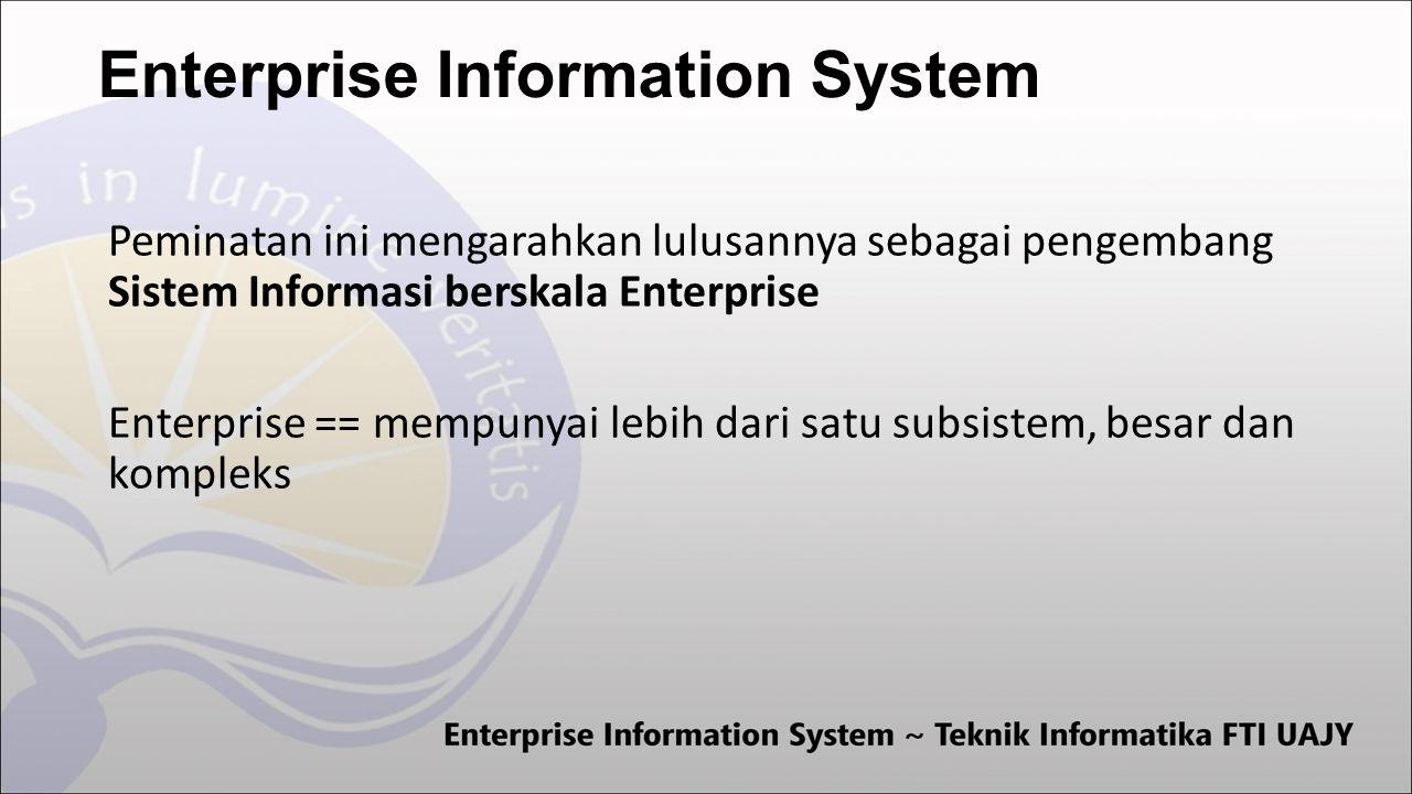 Enterprise Information System Peminatan ini mengarahkan lulusannya sebagai pengembang Sistem Informasi berskala Enterprise Enterprise == mempunyai lebih dari satu subsistem, besar dan kompleks