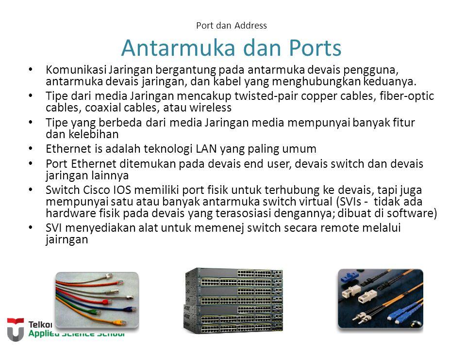 Port dan Address Antarmuka dan Ports Komunikasi Jaringan bergantung pada antarmuka devais pengguna, antarmuka devais jaringan, dan kabel yang menghubungkan keduanya.