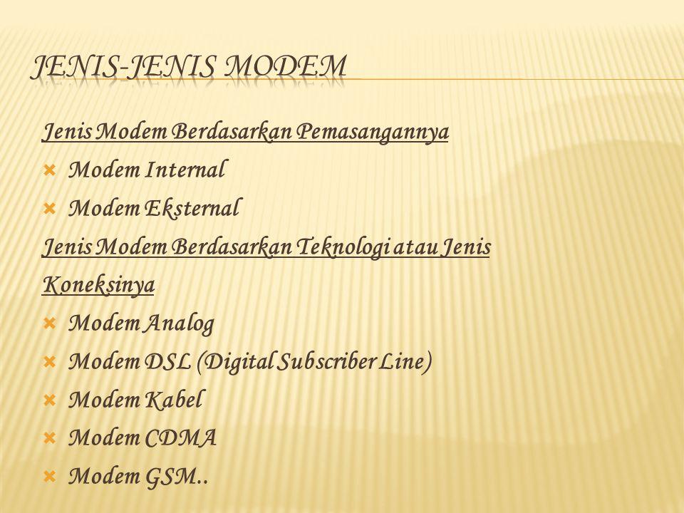 Jenis Modem Berdasarkan Pemasangannya  Modem Internal  Modem Eksternal Jenis Modem Berdasarkan Teknologi atau Jenis Koneksinya  Modem Analog  Modem DSL (Digital Subscriber Line)  Modem Kabel  Modem CDMA  Modem GSM..
