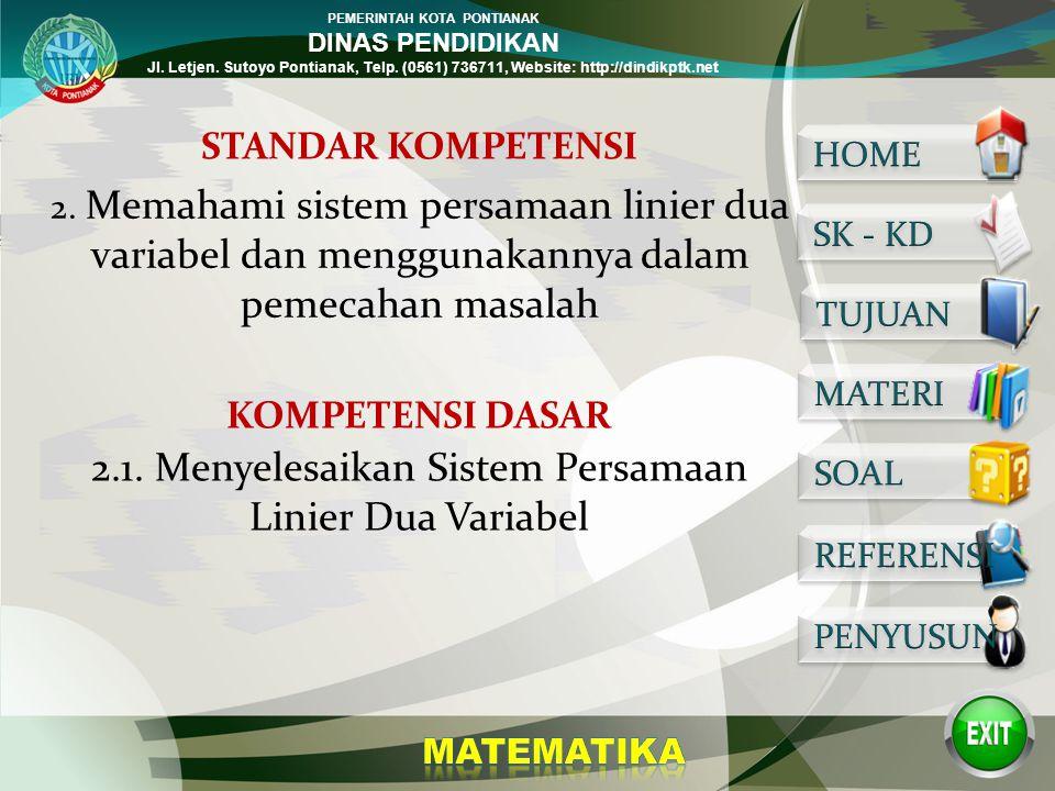 PEMERINTAH KOTA PONTIANAK DINAS PENDIDIKAN Jl. Letjen. Sutoyo Pontianak, Telp. (0561) 736711, Website: http://dindikptk.net SISTEM PERSAMAAN LINIER DU