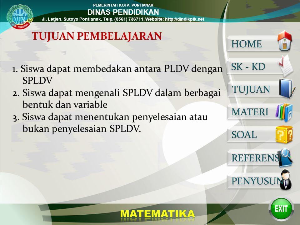PEMERINTAH KOTA PONTIANAK DINAS PENDIDIKAN Jl. Letjen. Sutoyo Pontianak, Telp. (0561) 736711, Website: http://dindikptk.net 2. Memahami sistem persama