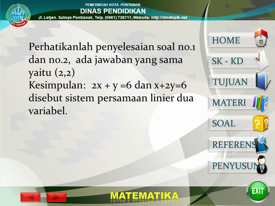 PEMERINTAH KOTA PONTIANAK DINAS PENDIDIKAN Jl. Letjen. Sutoyo Pontianak, Telp. (0561) 736711, Website: http://dindikptk.net Penyelesaian: 1. 2x + y =6