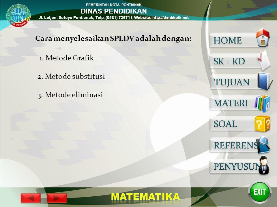 PEMERINTAH KOTA PONTIANAK DINAS PENDIDIKAN Jl. Letjen. Sutoyo Pontianak, Telp. (0561) 736711, Website: http://dindikptk.net Perhatikanlah penyelesaian