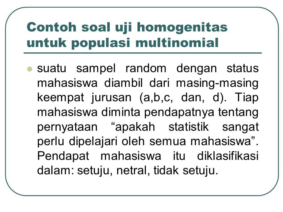 Contoh soal uji homogenitas untuk populasi multinomial suatu sampel random dengan status mahasiswa diambil dari masing-masing keempat jurusan (a,b,c,