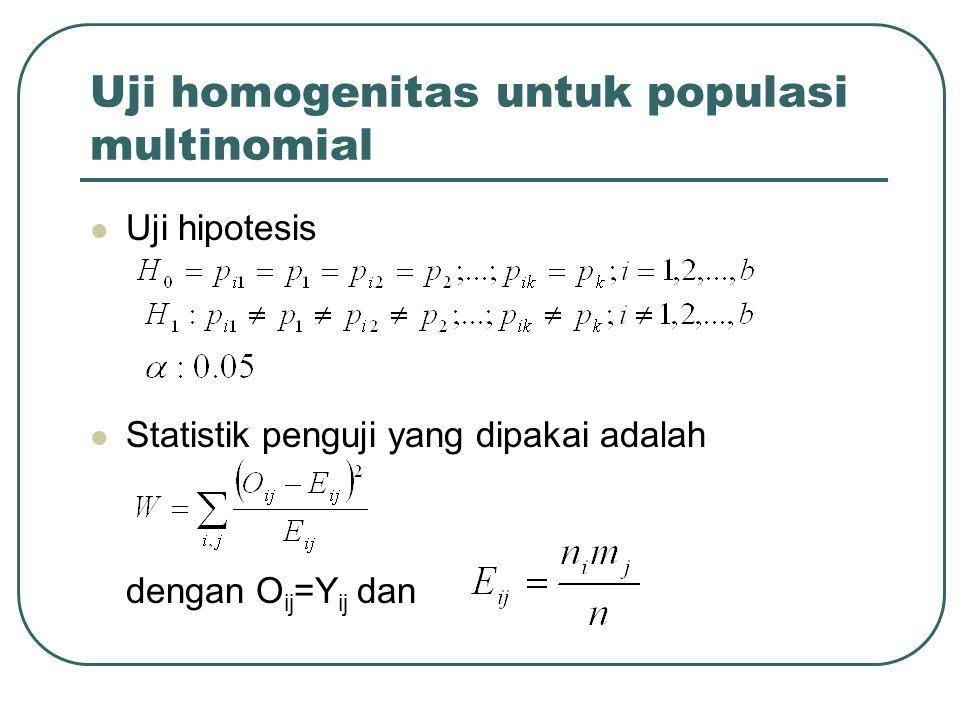 Uji homogenitas untuk populasi multinomial Uji hipotesis Statistik penguji yang dipakai adalah dengan O ij =Y ij dan