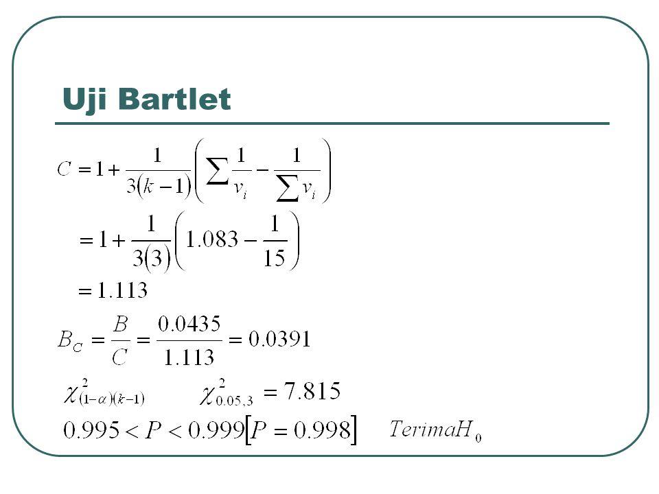 Contoh soal uji homogenitas untuk populasi multinomial suatu sampel random dengan status mahasiswa diambil dari masing-masing keempat jurusan (a,b,c, dan, d).