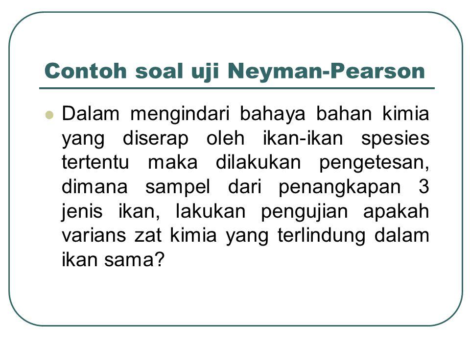 Contoh soal uji Neyman-Pearson Dalam mengindari bahaya bahan kimia yang diserap oleh ikan-ikan spesies tertentu maka dilakukan pengetesan, dimana sampel dari penangkapan 3 jenis ikan, lakukan pengujian apakah varians zat kimia yang terlindung dalam ikan sama?