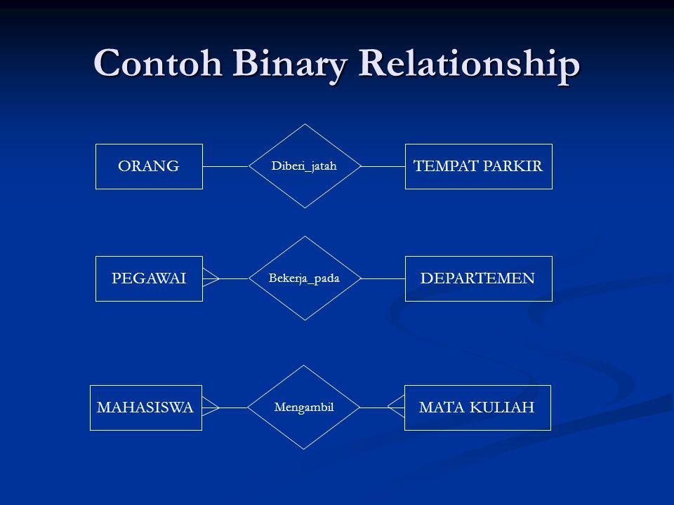 Contoh Binary Relationship Diberi_jatah ORANGTEMPAT PARKIR Bekerja_pada PEGAWAIDEPARTEMEN Mengambil MAHASISWAMATA KULIAH