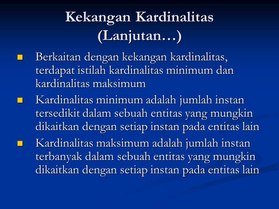 Kekangan Kardinalitas (Lanjutan…) Berkaitan dengan kekangan kardinalitas, terdapat istilah kardinalitas minimum dan kardinalitas maksimum Berkaitan de