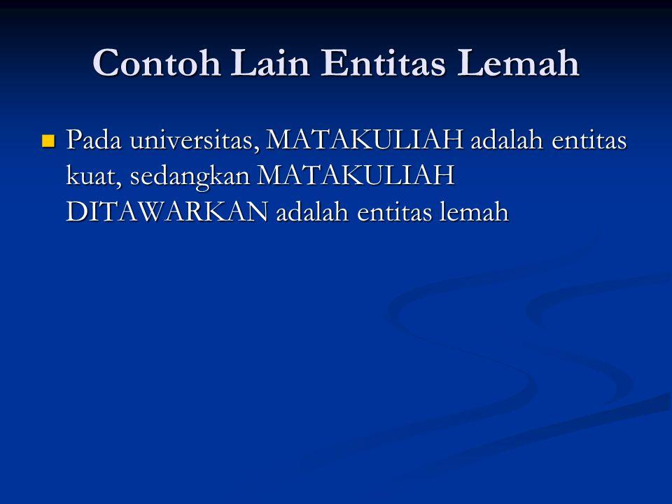 Contoh Lain Entitas Lemah Pada universitas, MATAKULIAH adalah entitas kuat, sedangkan MATAKULIAH DITAWARKAN adalah entitas lemah Pada universitas, MAT