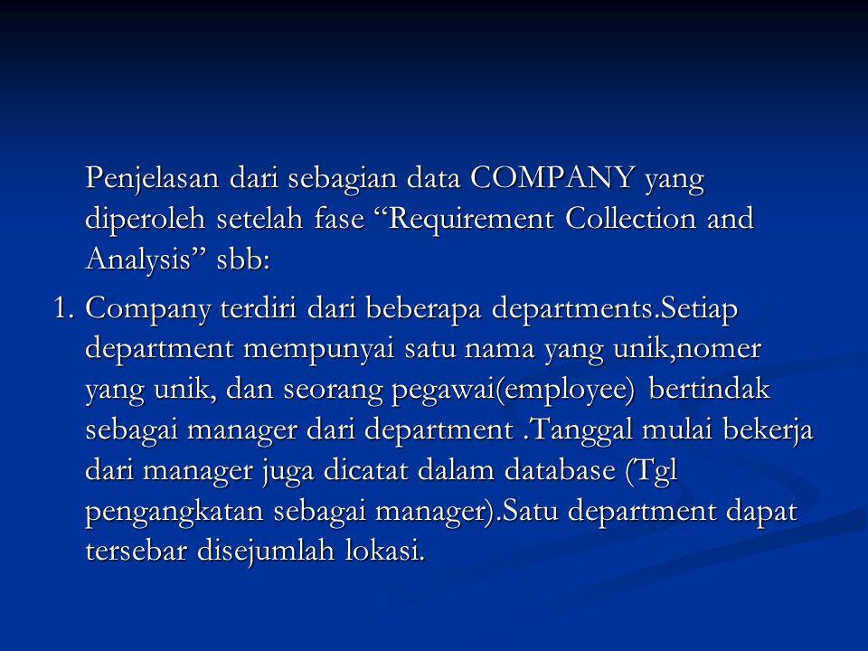 """Penjelasan dari sebagian data COMPANY yang diperoleh setelah fase """"Requirement Collection and Analysis"""" sbb: 1.Company terdiri dari beberapa departmen"""