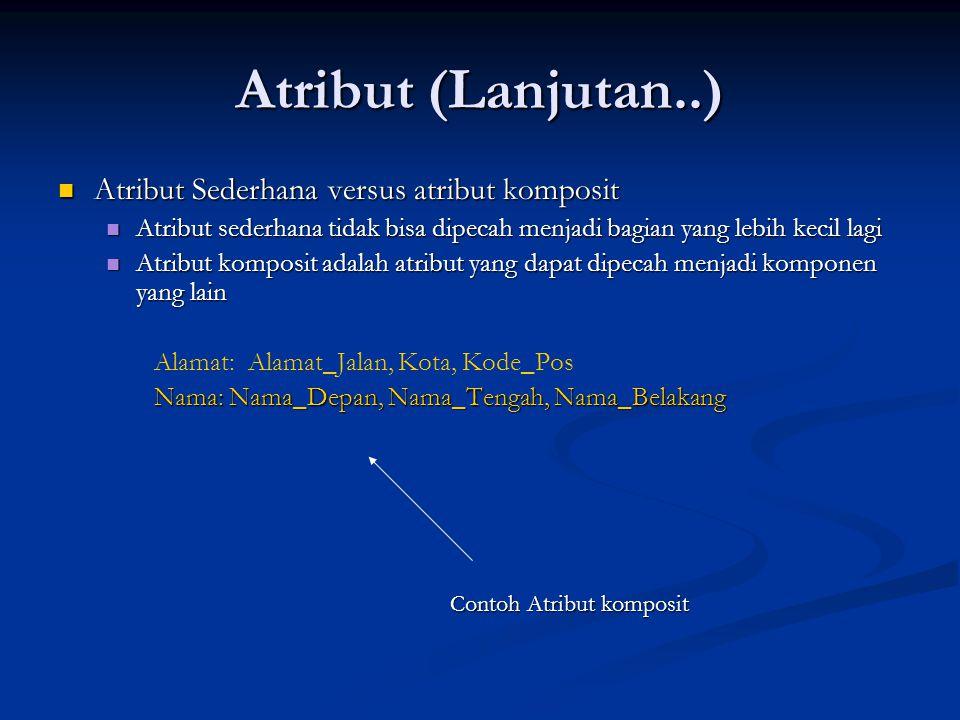 Atribut (Lanjutan..) Atribut Sederhana versus atribut komposit Atribut Sederhana versus atribut komposit Atribut sederhana tidak bisa dipecah menjadi