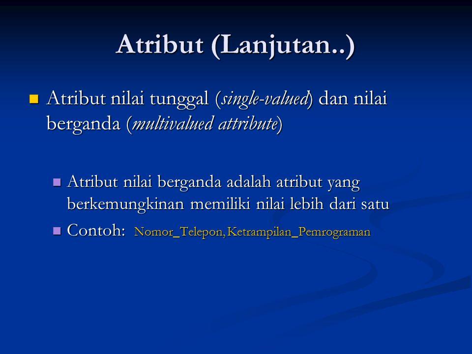 Atribut (Lanjutan..) Atribut nilai tunggal (single-valued) dan nilai berganda (multivalued attribute) Atribut nilai tunggal (single-valued) dan nilai