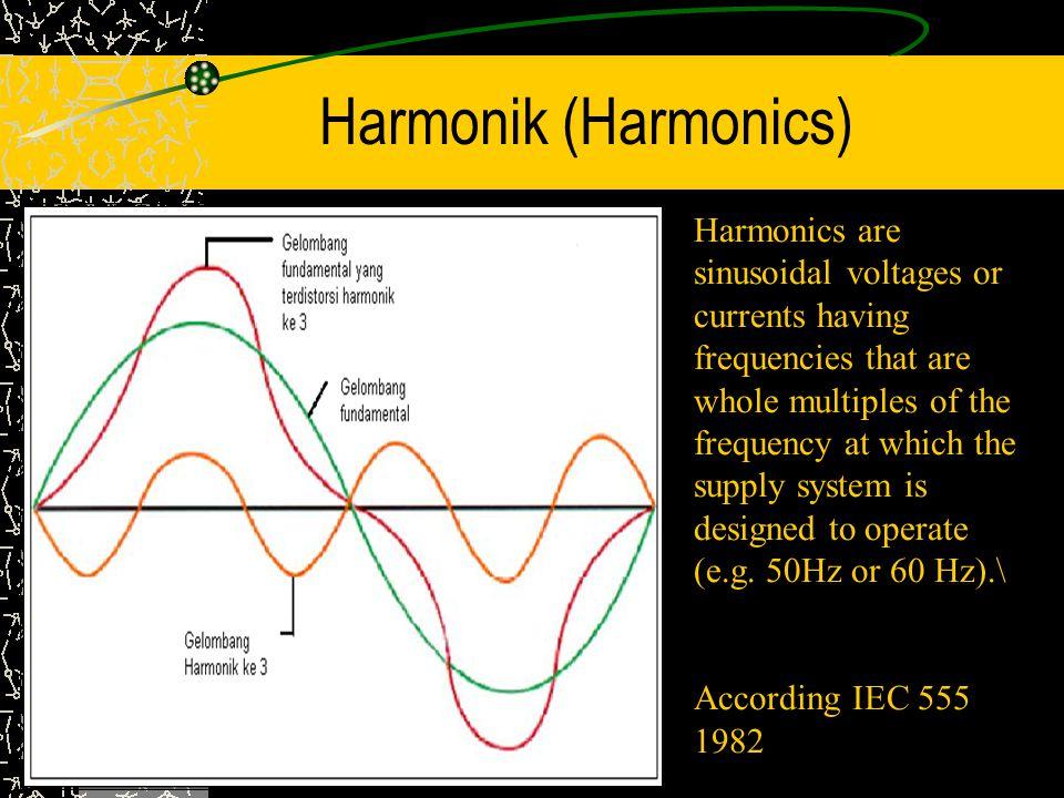 Penyebab Harmonik Di Sisi Pembangkit : Desain generator atau transformator yang kurang baik dapat menimbulkan harmonik* Di Sisi Konsumen : - Harmonik timbul karena adanya beban yang tidak linier (semua beban dengan power supply menggunakan power electronics – IGBT, Thyritor, Transistor, MOSFET/FET, UJT, SCR)* Contoh : ASD, PC, TV, LHE.