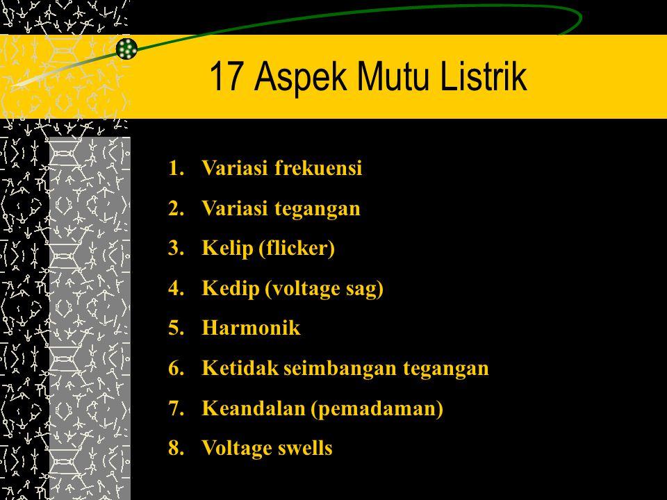 17 Aspek Mutu Listrik 1.Variasi frekuensi 2.Variasi tegangan 3.Kelip (flicker) 4.Kedip (voltage sag) 5.Harmonik 6.Ketidak seimbangan tegangan 7.Keanda