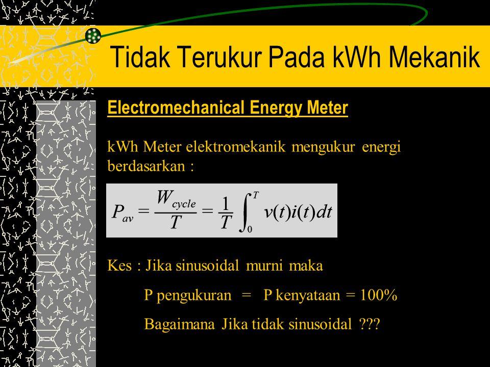 Tidak Terukur Pada kWh Mekanik kWh Meter elektromekanik mengukur energi berdasarkan : Kes : Jika sinusoidal murni maka P pengukuran = P kenyataan = 10