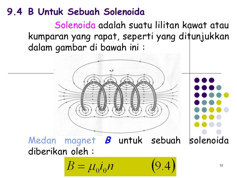 10 9.4B Untuk Sebuah Solenoida Solenoida adalah suatu lilitan kawat atau kumparan yang rapat, seperti yang ditunjukkan dalam gambar di bawah ini : Med