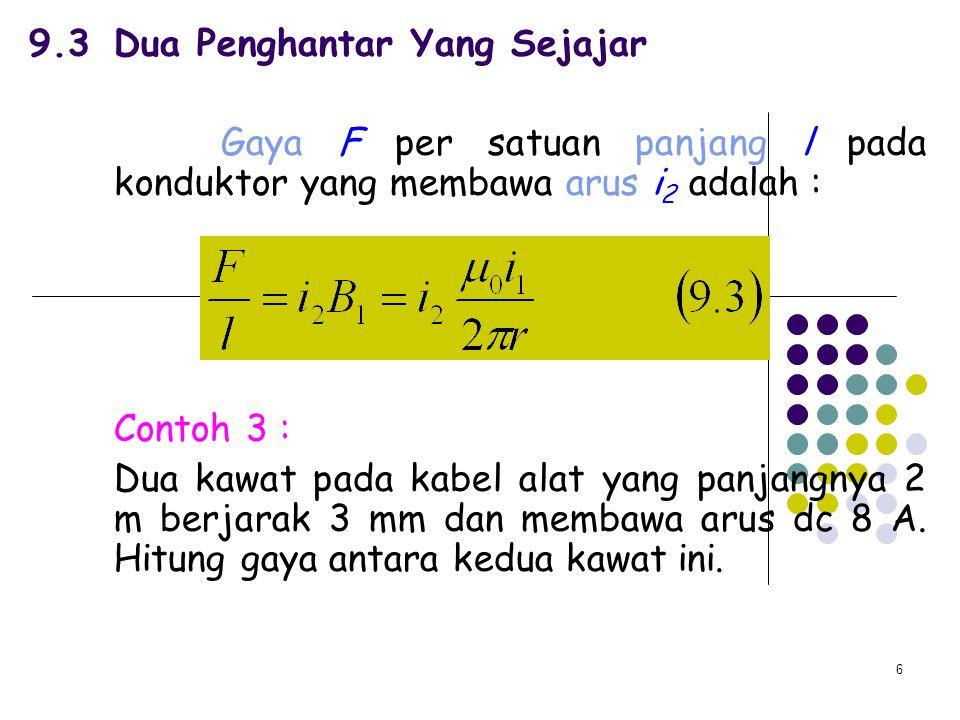 6 9.3Dua Penghantar Yang Sejajar Gaya F per satuan panjang l pada konduktor yang membawa arus i 2 adalah : Contoh 3 : Dua kawat pada kabel alat yang p