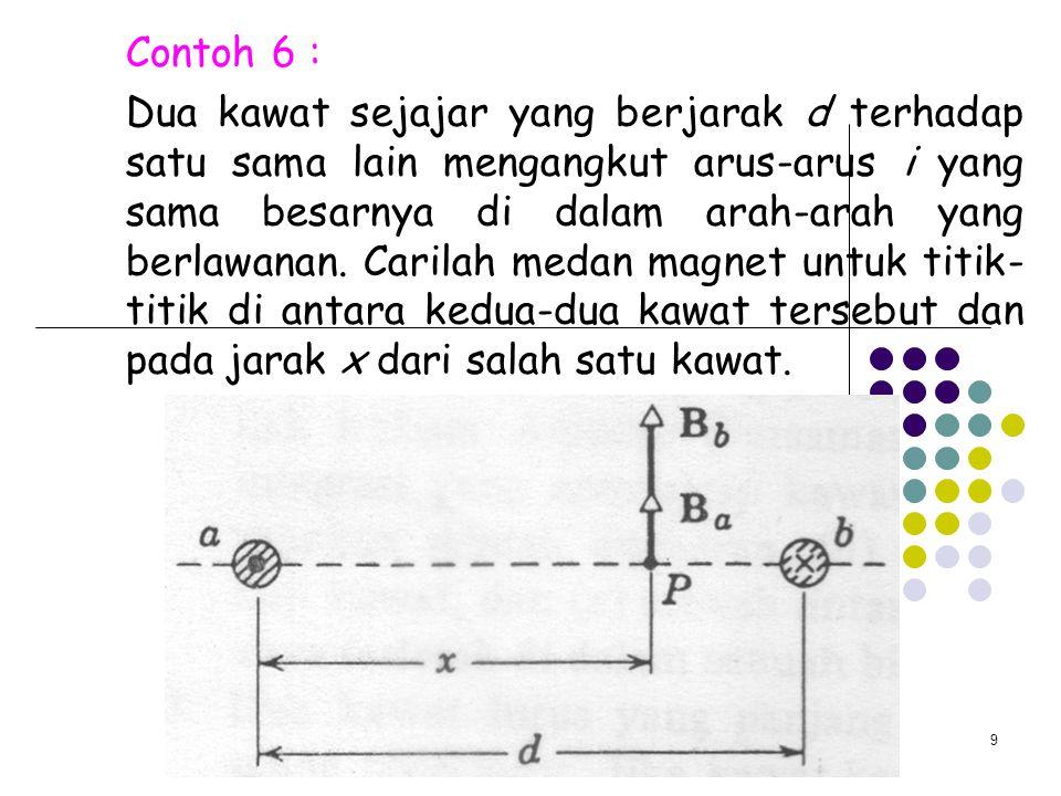 9 Contoh 6 : Dua kawat sejajar yang berjarak d terhadap satu sama lain mengangkut arus-arus i yang sama besarnya di dalam arah-arah yang berlawanan. C