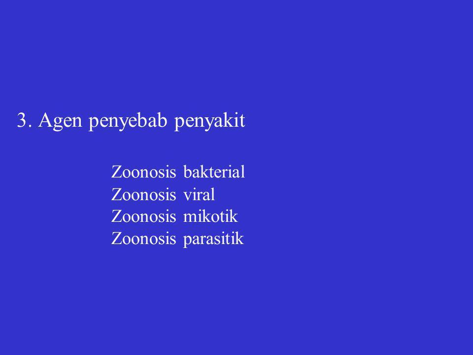 3. Agen penyebab penyakit Zoonosis bakterial Zoonosis viral Zoonosis mikotik Zoonosis parasitik