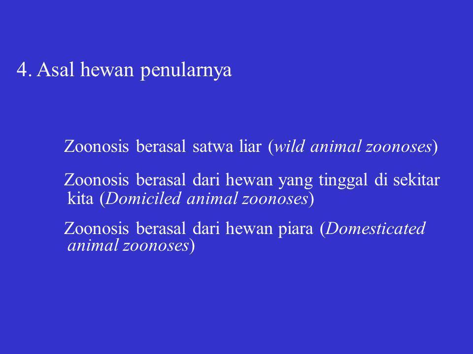 Zoonosis dapat pula dibagi menjadi: Ectoparasitic zoonoses Occupational zoonoses Foodborne zoonoses: meatborne, milkborne, fishborne, dll.