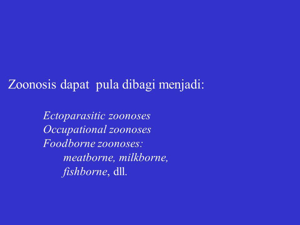 Zoonosis dapat pula dibagi menjadi: Ectoparasitic zoonoses Occupational zoonoses Foodborne zoonoses: meatborne, milkborne, fishborne, dll.