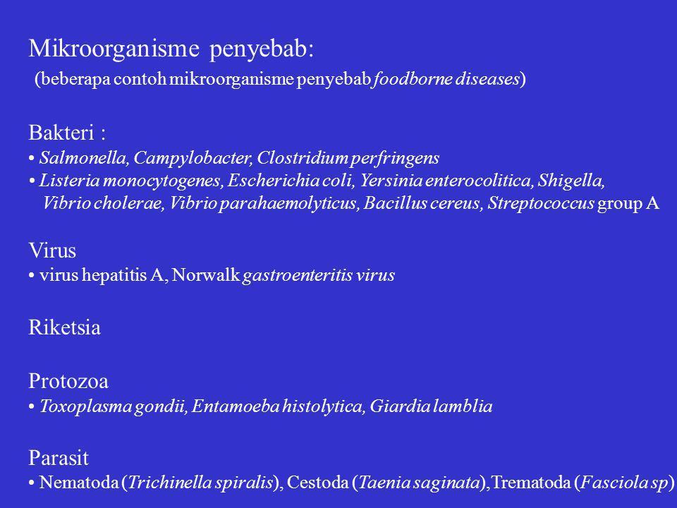 Mikroorganisme penyebab: (beberapa contoh mikroorganisme penyebab foodborne diseases) Bakteri : Salmonella, Campylobacter, Clostridium perfringens Listeria monocytogenes, Escherichia coli, Yersinia enterocolitica, Shigella, Vibrio cholerae, Vibrio parahaemolyticus, Bacillus cereus, Streptococcus group A Virus virus hepatitis A, Norwalk gastroenteritis virus Riketsia Protozoa Toxoplasma gondii, Entamoeba histolytica, Giardia lamblia Parasit Nematoda (Trichinella spiralis), Cestoda (Taenia saginata),Trematoda (Fasciola sp)