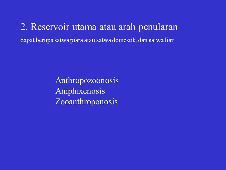 2. Reservoir utama atau arah penularan dapat berupa satwa piara atau satwa domestik, dan satwa liar Anthropozoonosis Amphixenosis Zooanthroponosis