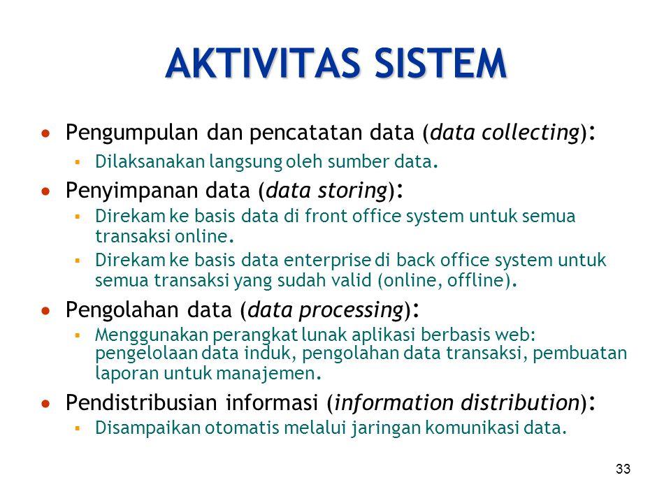 33 AKTIVITAS SISTEM  Pengumpulan dan pencatatan data (data collecting) :  Dilaksanakan langsung oleh sumber data.  Penyimpanan data (data storing)