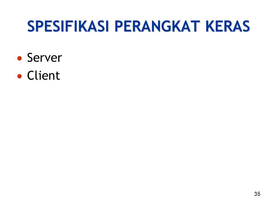 35 SPESIFIKASI PERANGKAT KERAS  Server  Client