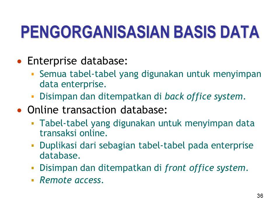 36 PENGORGANISASIAN BASIS DATA  Enterprise database:  Semua tabel-tabel yang digunakan untuk menyimpan data enterprise.  Disimpan dan ditempatkan d