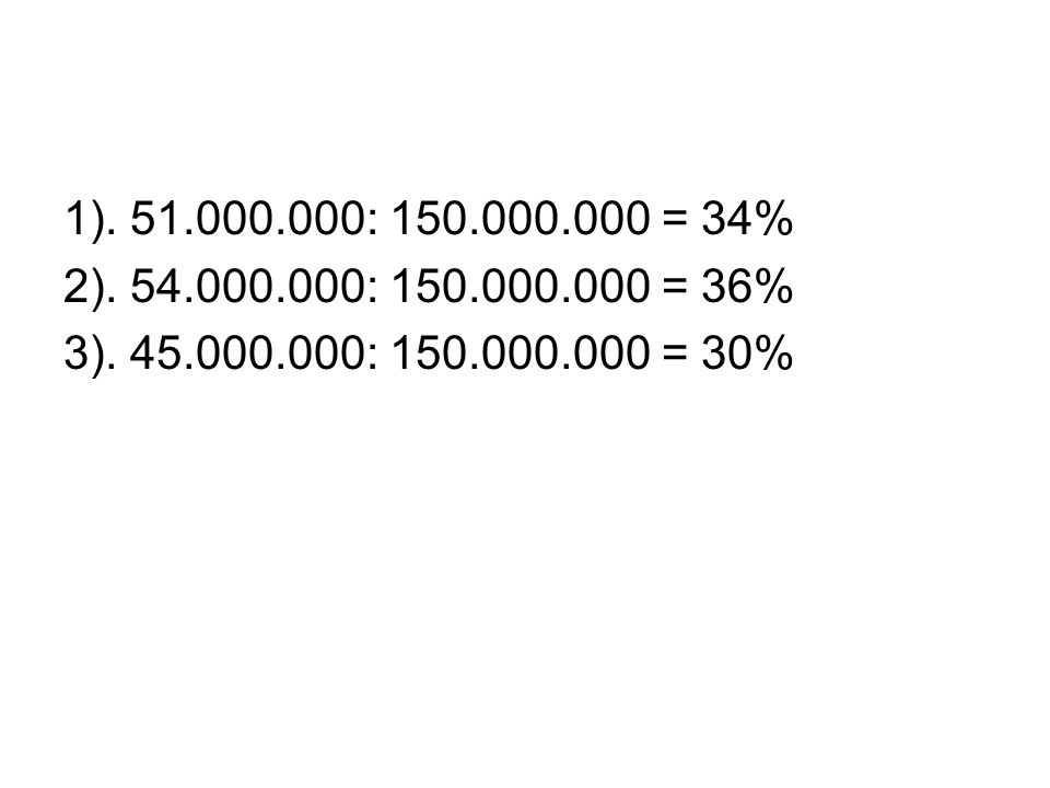 1). 51.000.000: 150.000.000 = 34% 2). 54.000.000: 150.000.000 = 36% 3). 45.000.000: 150.000.000 = 30%
