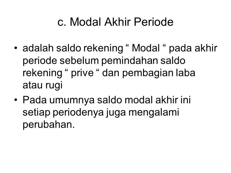 """c. Modal Akhir Periode adalah saldo rekening """" Modal """" pada akhir periode sebelum pemindahan saldo rekening """" prive """" dan pembagian laba atau rugi Pad"""