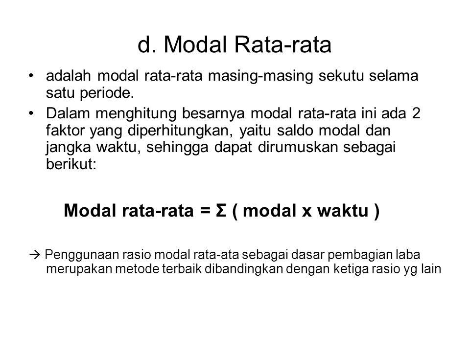 d. Modal Rata-rata adalah modal rata-rata masing-masing sekutu selama satu periode. Dalam menghitung besarnya modal rata-rata ini ada 2 faktor yang di