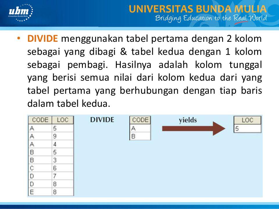 DIVIDE menggunakan tabel pertama dengan 2 kolom sebagai yang dibagi & tabel kedua dengan 1 kolom sebagai pembagi. Hasilnya adalah kolom tunggal yang b