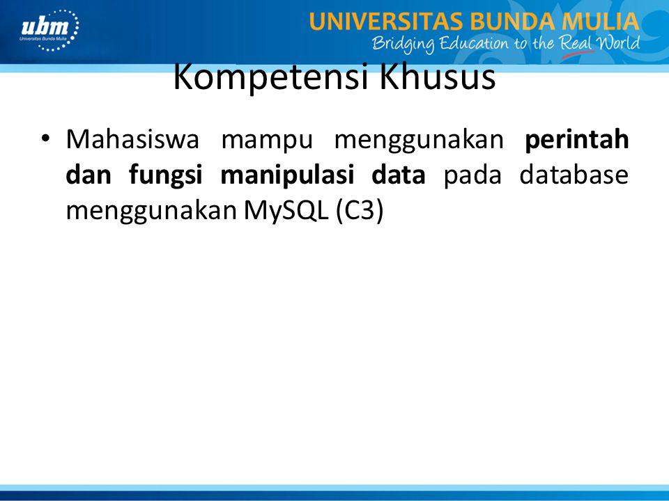 Mengelompokkan Data – GROUP BY digunakan untuk mengelompokkan baris dalam tabel, & biasanya digunakan bersamaan dengan fungsi agregasi.