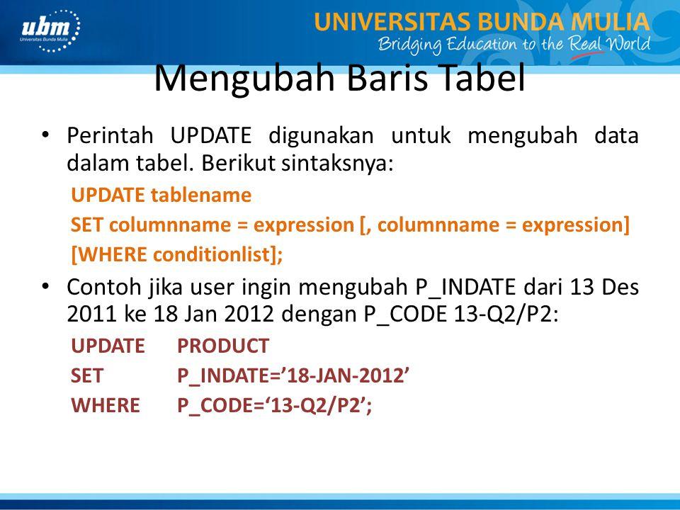 Mengubah Baris Tabel Perintah UPDATE digunakan untuk mengubah data dalam tabel. Berikut sintaksnya: UPDATE tablename SET columnname = expression [, co