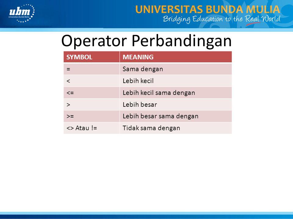Operator Perbandingan SYMBOLMEANING =Sama dengan <Lebih kecil <=Lebih kecil sama dengan >Lebih besar >=Lebih besar sama dengan <> Atau !=Tidak sama de