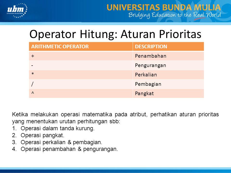 Operator Hitung: Aturan Prioritas ARITHMETIC OPERATORDESCRIPTION +Penambahan -Pengurangan *Perkalian /Pembagian ^Pangkat Ketika melakukan operasi mate