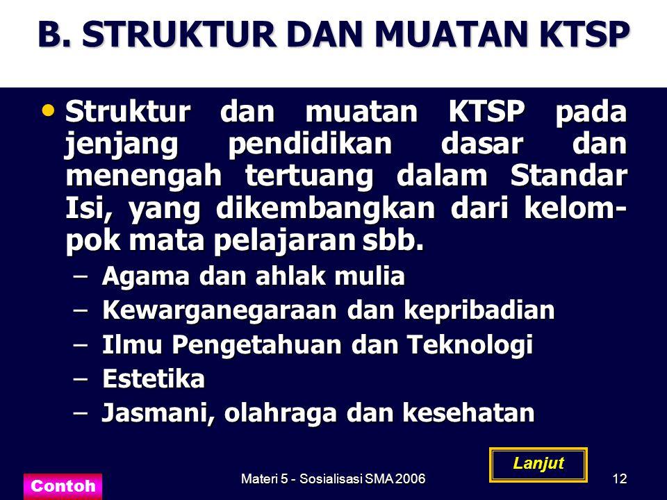 Materi 5 - Sosialisasi SMA 200612 B. STRUKTUR DAN MUATAN KTSP Struktur dan muatan KTSP pada jenjang pendidikan dasar dan menengah tertuang dalam Stand