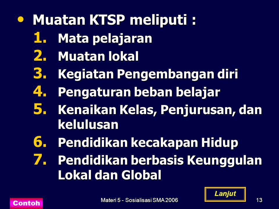 Materi 5 - Sosialisasi SMA 200613 Muatan KTSP meliputi : Muatan KTSP meliputi : 1. Mata pelajaran 2. Muatan lokal 3. Kegiatan Pengembangan diri 4. Pen