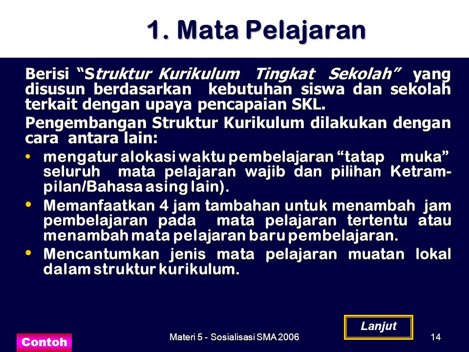 """Materi 5 - Sosialisasi SMA 200614 1. Mata Pelajaran Berisi """"Struktur Kurikulum Tingkat Sekolah"""" yang disusun berdasarkan kebutuhan siswa dan sekolah t"""