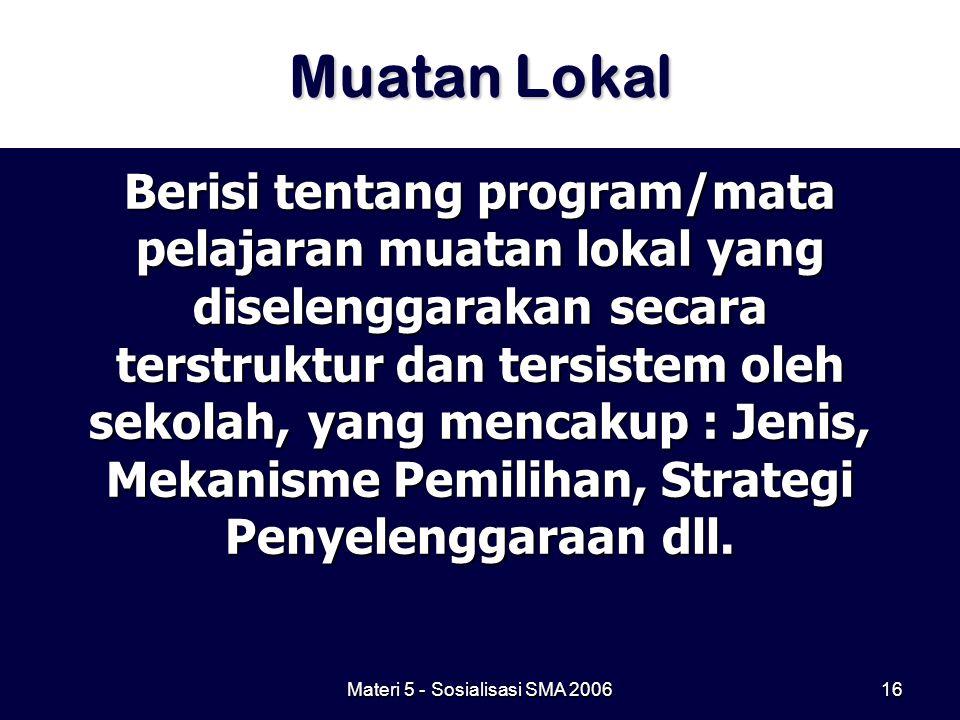 Materi 5 - Sosialisasi SMA 200616 Muatan Lokal Berisi tentang program/mata pelajaran muatan lokal yang diselenggarakan secara terstruktur dan tersiste