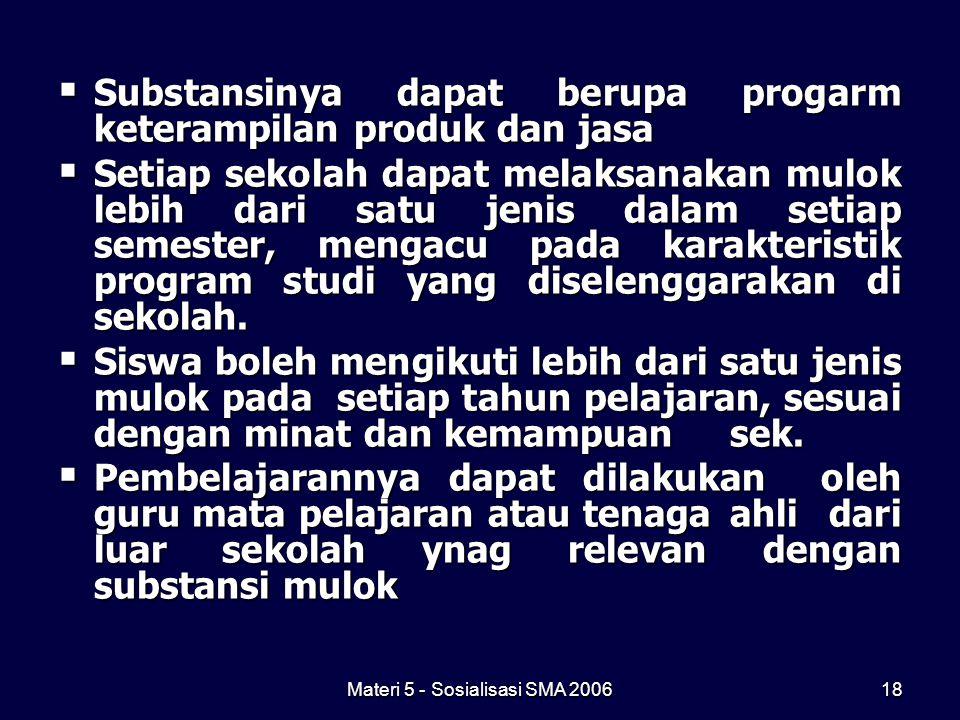Materi 5 - Sosialisasi SMA 200618  Substansinya dapat berupa progarm keterampilan produk dan jasa  Setiap sekolah dapat melaksanakan mulok lebih dar