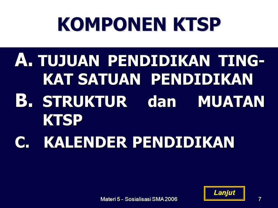 Materi 5 - Sosialisasi SMA 20067 KOMPONEN KTSP A. TUJUAN PENDIDIKAN TING- KAT SATUAN PENDIDIKAN B. STRUKTUR dan MUATAN KTSP C. KALENDER PENDIDIKAN Lan