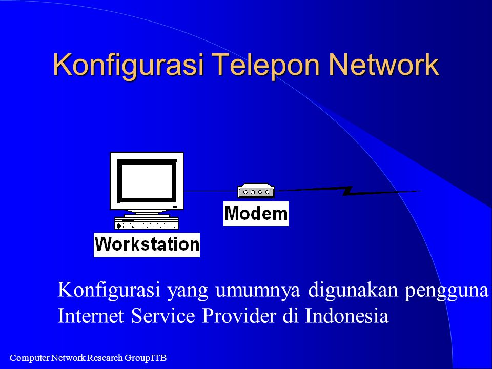 Computer Network Research Group ITB Konfigurasi Telepon Network Konfigurasi yang umumnya digunakan pengguna Internet Service Provider di Indonesia